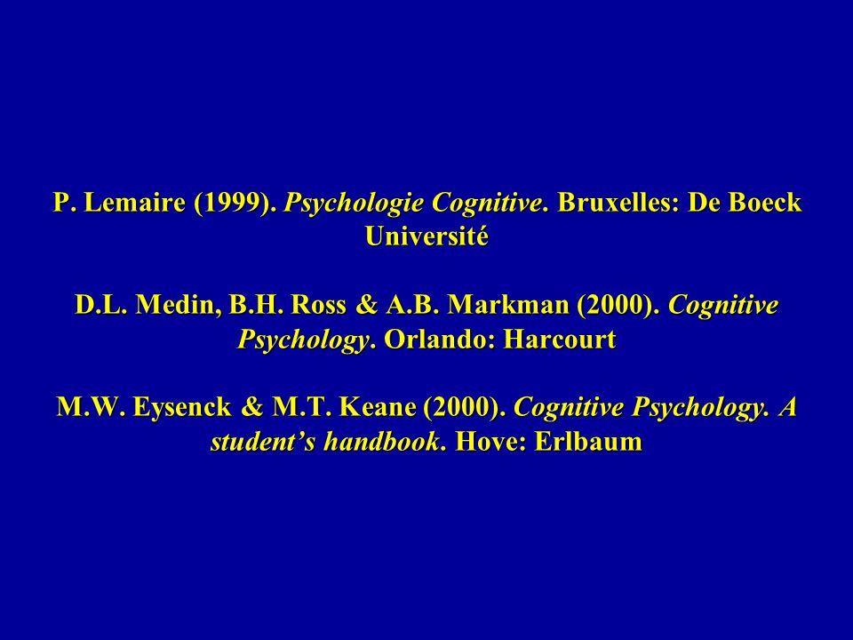 P. Lemaire (1999). Psychologie Cognitive. Bruxelles: De Boeck Université D.L. Medin, B.H. Ross & A.B. Markman (2000). Cognitive Psychology. Orlando: H