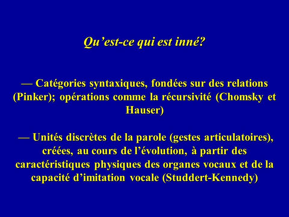 Quest-ce qui est inné? Catégories syntaxiques, fondées sur des relations (Pinker); opérations comme la récursivité (Chomsky et Hauser) Unités discrète