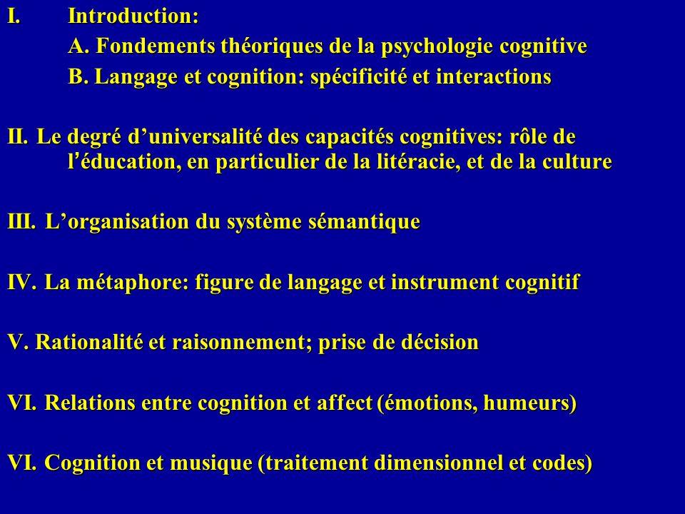 I.Introduction: A. Fondements théoriques de la psychologie cognitive B. Langage et cognition: spécificité et interactions II. Le degré duniversalité d