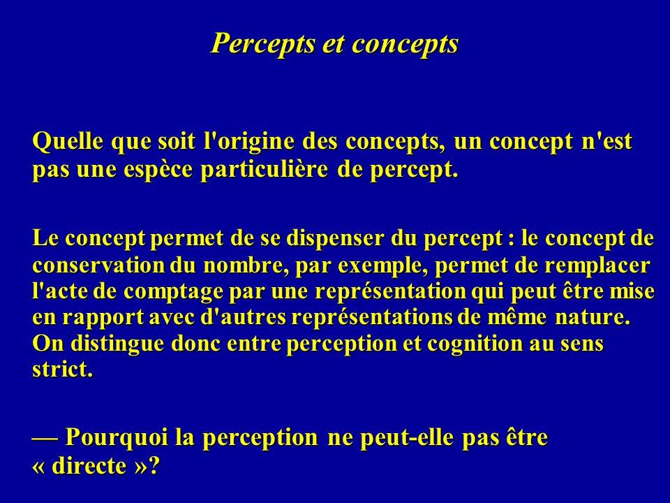 Percepts et concepts Quelle que soit l'origine des concepts, un concept n'est pas une espèce particulière de percept. Le concept permet de se dispense