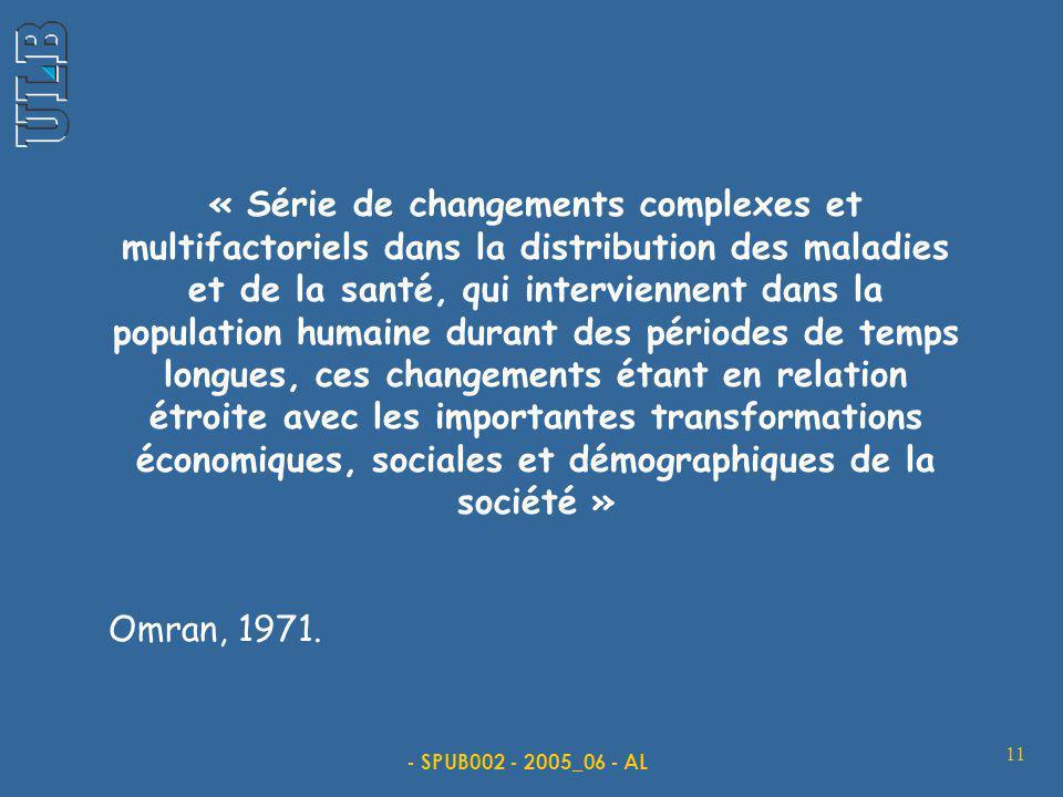 - SPUB002 - 2005_06 - AL 11 « Série de changements complexes et multifactoriels dans la distribution des maladies et de la santé, qui interviennent da
