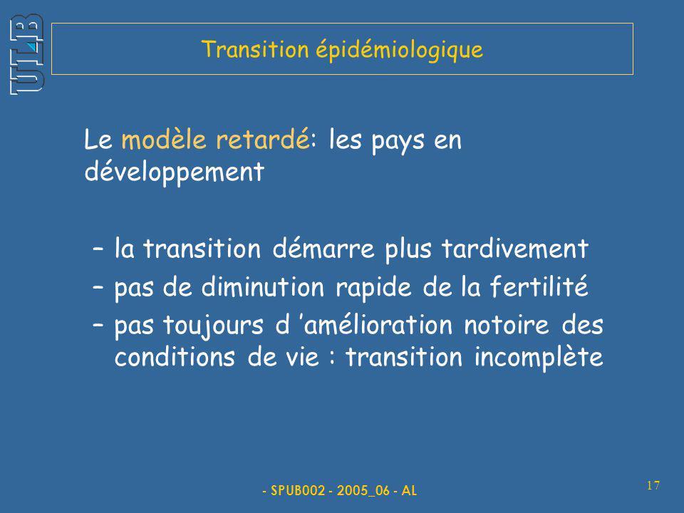- SPUB002 - 2005_06 - AL 17 Le modèle retardé: les pays en développement –la transition démarre plus tardivement –pas de diminution rapide de la fertilité –pas toujours d amélioration notoire des conditions de vie : transition incomplète Transition épidémiologique