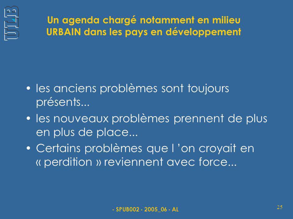 - SPUB002 - 2005_06 - AL 25 Un agenda chargé notamment en milieu URBAIN dans les pays en développement les anciens problèmes sont toujours présents...