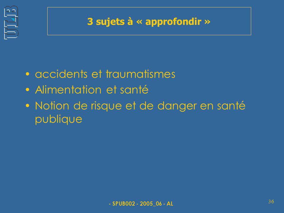 - SPUB002 - 2005_06 - AL 36 3 sujets à « approfondir » accidents et traumatismes Alimentation et santé Notion de risque et de danger en santé publique