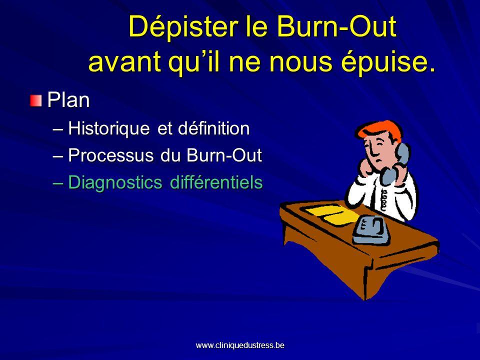 Dépister le Burn-Out avant quil ne nous épuise. Plan –Historique et définition –Processus du Burn-Out –Diagnostics différentiels www.cliniquedustress.