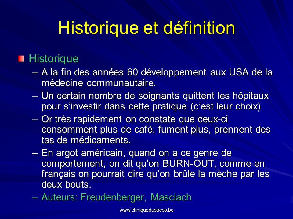 Historique et définition Dictionnaire: –Burn-out: 1.