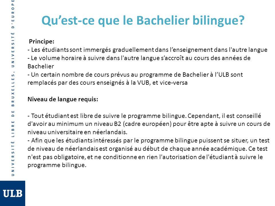 Quest-ce que le Bachelier bilingue? Principe: - Les étudiants sont immergés graduellement dans lenseignement dans l'autre langue - Le volume horaire à