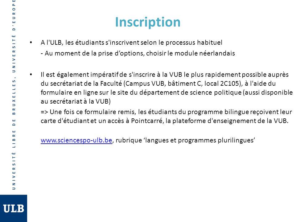 Inscription A l'ULB, les étudiants s'inscrivent selon le processus habituel - Au moment de la prise doptions, choisir le module néerlandais Il est éga