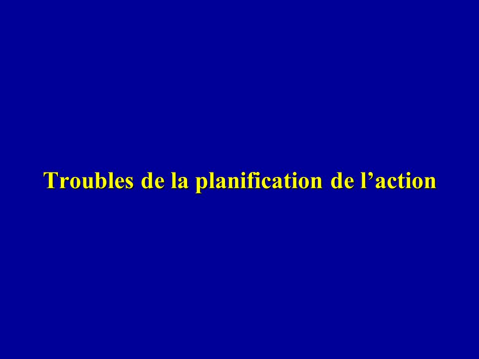 Troubles de la planification de laction