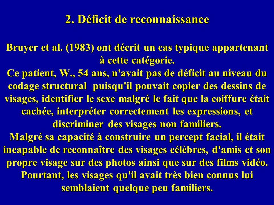 2.Déficit de reconnaissance Bruyer et al.