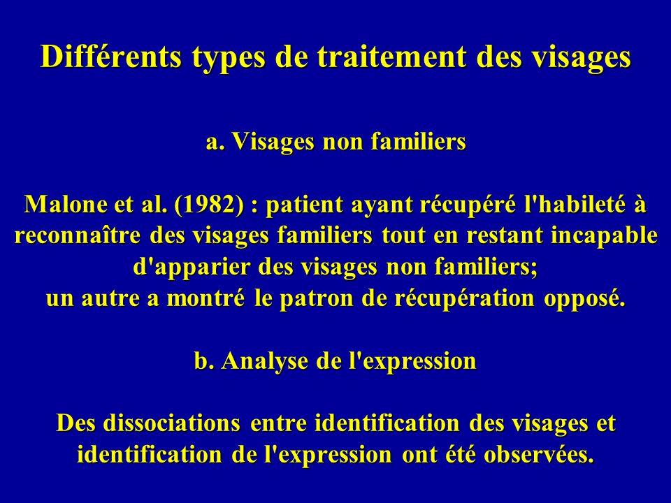 Différents types de traitement des visages a.Visages non familiers Malone et al.