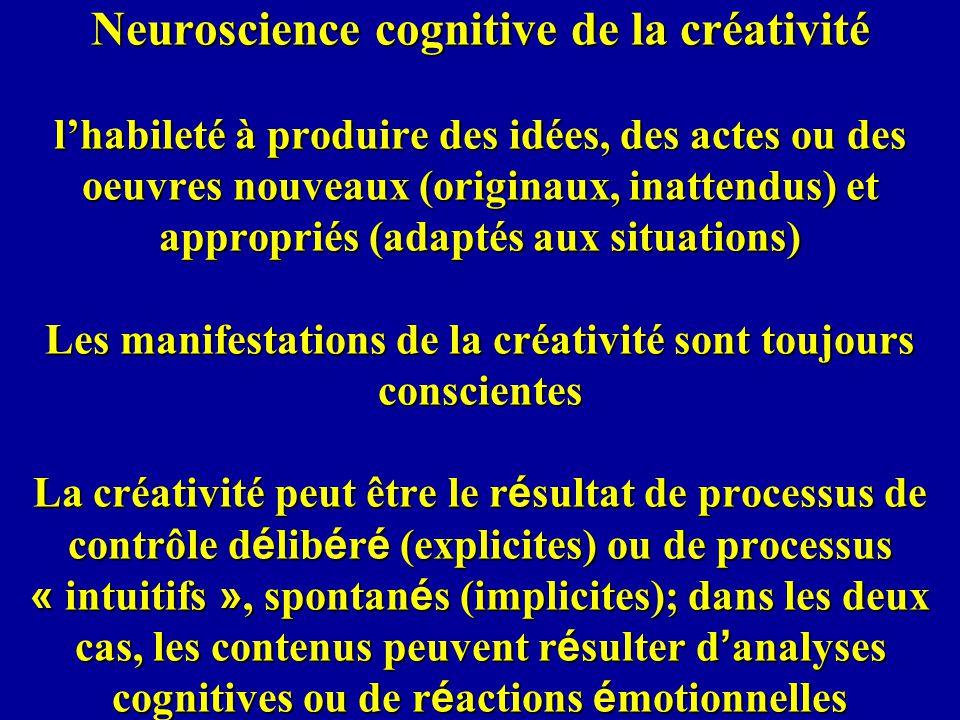 Neuroscience cognitive de la créativité lhabileté à produire des idées, des actes ou des oeuvres nouveaux (originaux, inattendus) et appropriés (adaptés aux situations) Les manifestations de la créativité sont toujours conscientes La créativité peut être le r é sultat de processus de contrôle d é lib é r é (explicites) ou de processus « intuitifs », spontan é s (implicites); dans les deux cas, les contenus peuvent r é sulter d analyses cognitives ou de r é actions é motionnelles