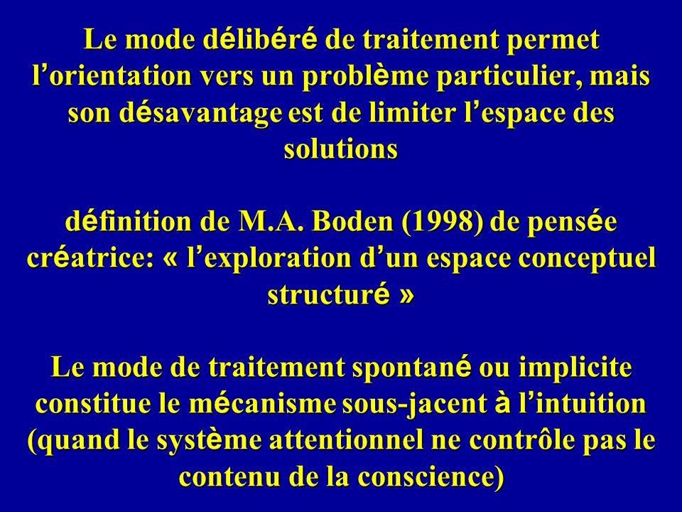 Le mode d é lib é r é de traitement permet l orientation vers un probl è me particulier, mais son d é savantage est de limiter l espace des solutions d é finition de M.A.