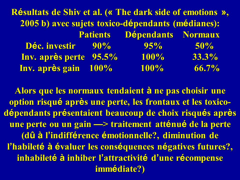 R é sultats de Shiv et al. ( « The dark side of emotions », 2005 b) avec sujets toxico-d é pendants (m é dianes): Patients D é pendants Normaux D é c.