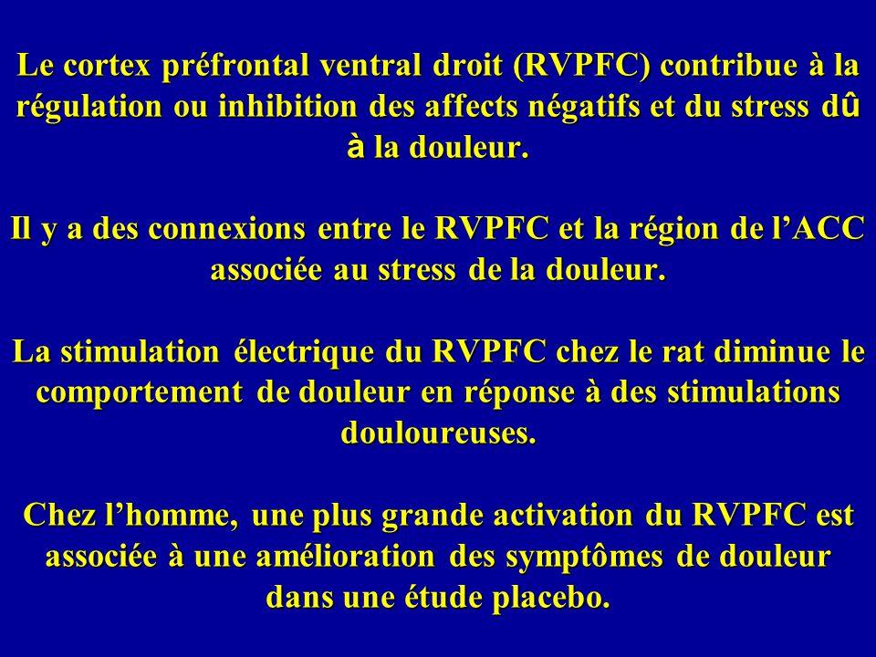 Le cortex préfrontal ventral droit (RVPFC) contribue à la régulation ou inhibition des affects négatifs et du stress d û à la douleur.