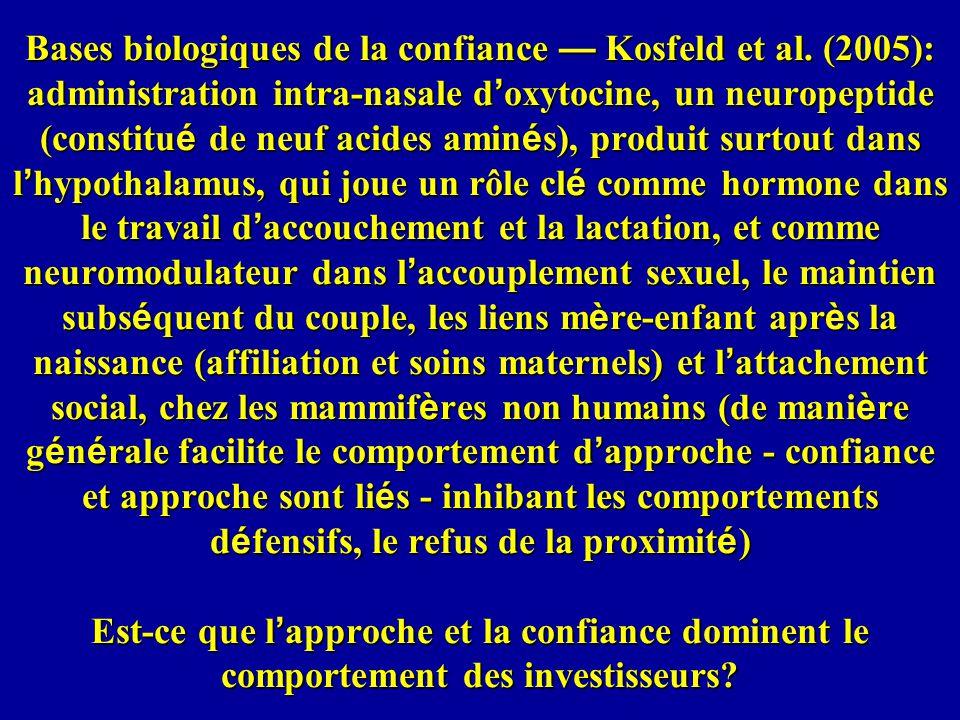 Bases biologiques de la confiance Kosfeld et al.