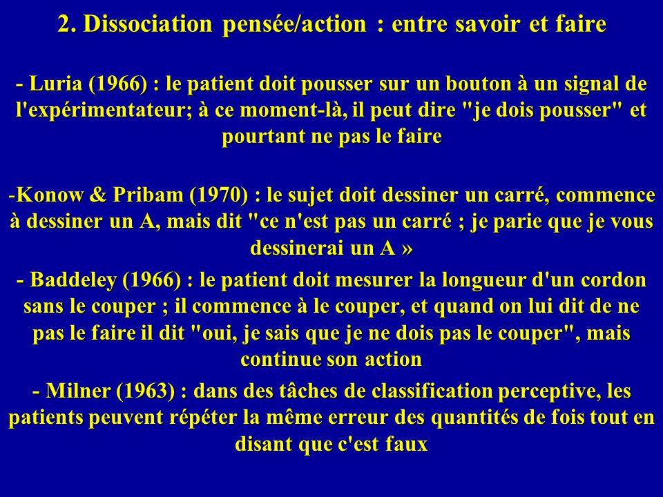 2. Dissociation pensée/action : entre savoir et faire - Luria (1966) : le patient doit pousser sur un bouton à un signal de l'expérimentateur; à ce mo