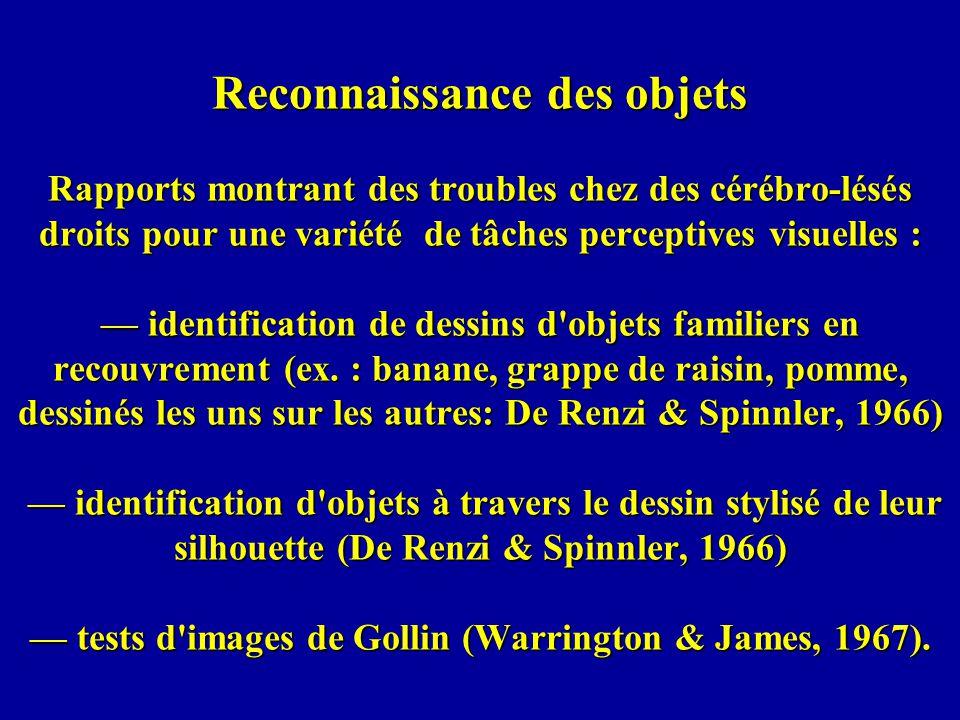 Reconnaissance des objets Rapports montrant des troubles chez des cérébro-lésés droits pour une variété de tâches perceptives visuelles : identification de dessins d objets familiers en recouvrement (ex.