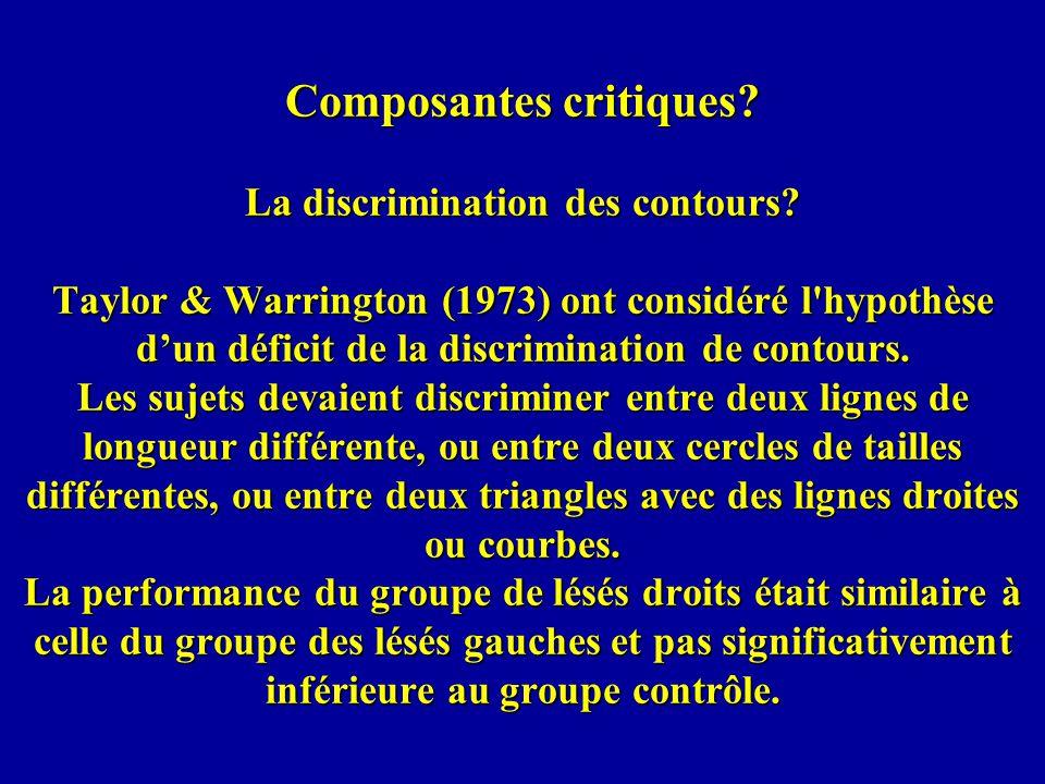 Composantes critiques.La discrimination des contours.