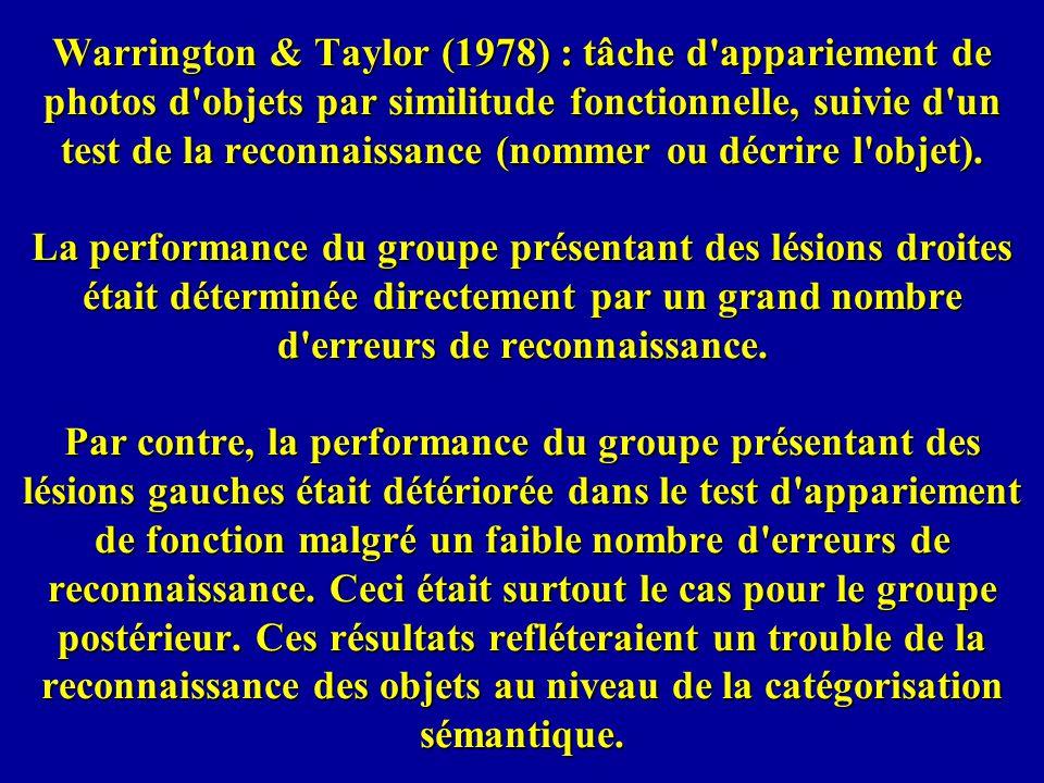 Warrington & Taylor (1978) : tâche d appariement de photos d objets par similitude fonctionnelle, suivie d un test de la reconnaissance (nommer ou décrire l objet).
