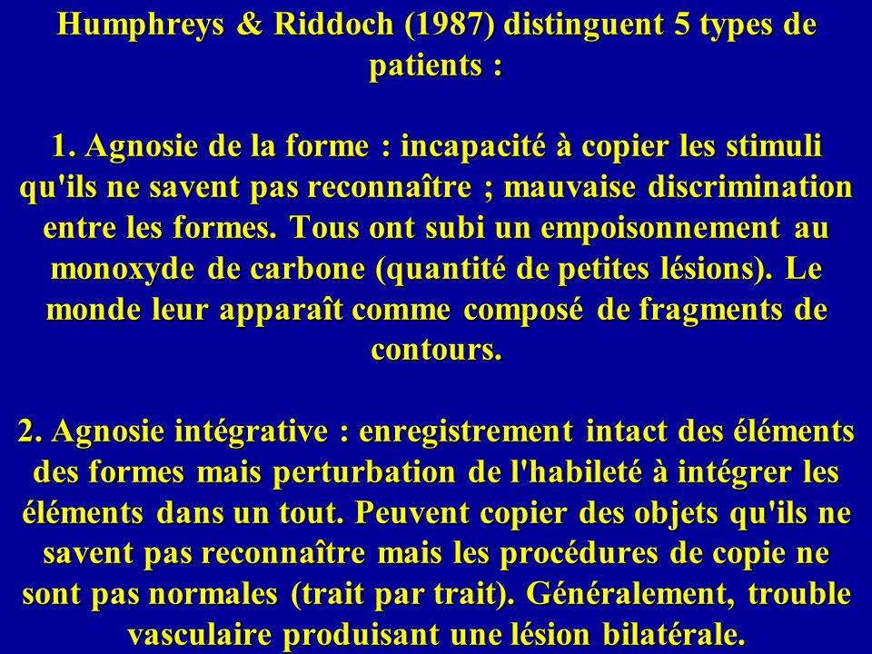 Humphreys & Riddoch (1987) distinguent 5 types de patients : 1.