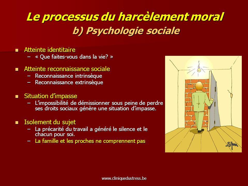 www.cliniquedustress.be Le processus du harcèlement moral b) Psychologie sociale Atteinte identitaire Atteinte identitaire –« Que faites-vous dans la
