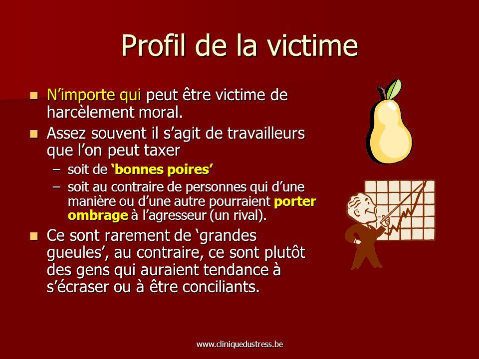 www.cliniquedustress.be Profil de la victime Nimporte qui peut être victime de harcèlement moral. Nimporte qui peut être victime de harcèlement moral.