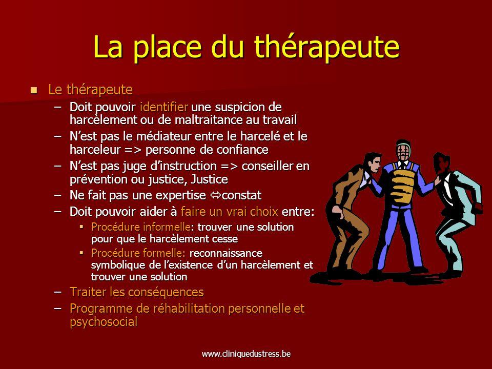 www.cliniquedustress.be La place du thérapeute Le thérapeute Le thérapeute –Doit pouvoir identifier une suspicion de harcèlement ou de maltraitance au