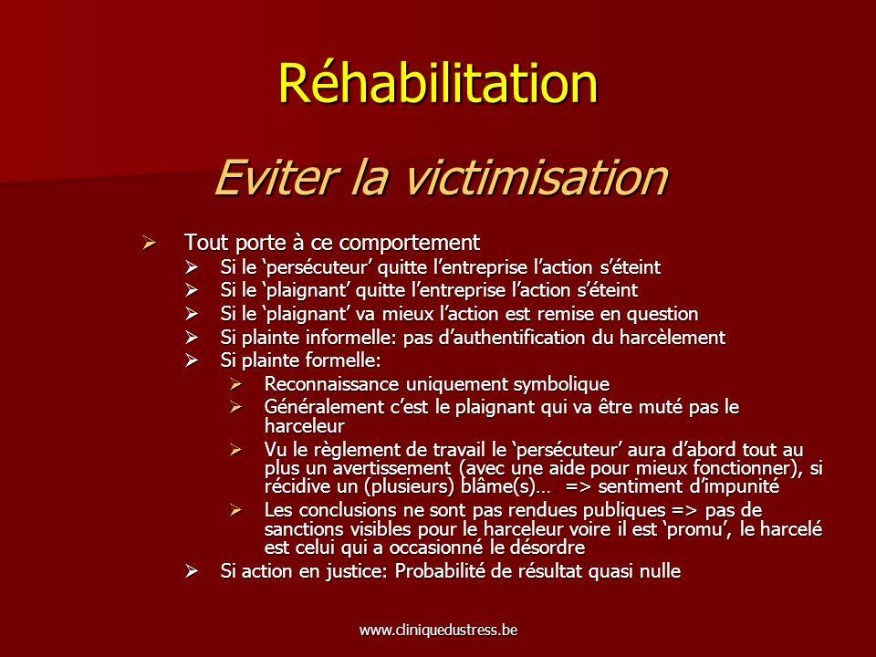 www.cliniquedustress.be Réhabilitation Eviter la victimisation Tout porte à ce comportement Tout porte à ce comportement Si le persécuteur quitte lent