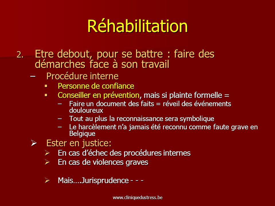 www.cliniquedustress.be Réhabilitation 2. Etre debout, pour se battre : faire des démarches face à son travail –Procédure interne Personne de confianc