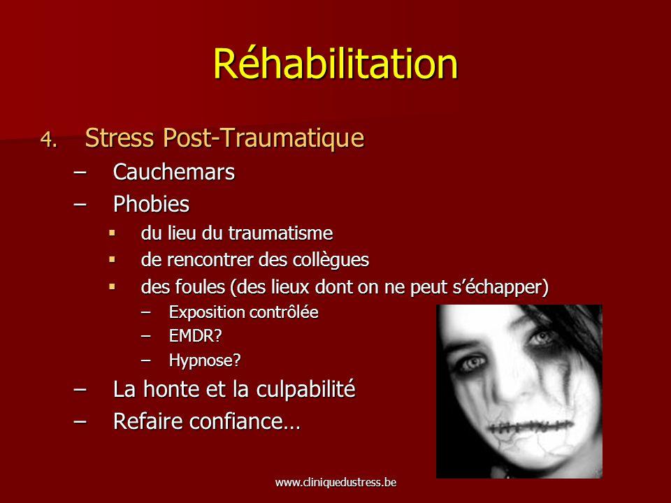 www.cliniquedustress.be Réhabilitation 4. Stress Post-Traumatique –Cauchemars –Phobies du lieu du traumatisme du lieu du traumatisme de rencontrer des