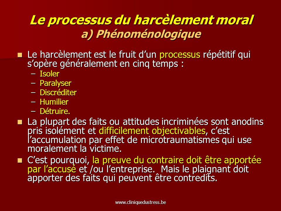 www.cliniquedustress.be Le processus du harcèlement moral a) Phénoménologique Le harcèlement est le fruit dun processus répétitif qui sopère généralem