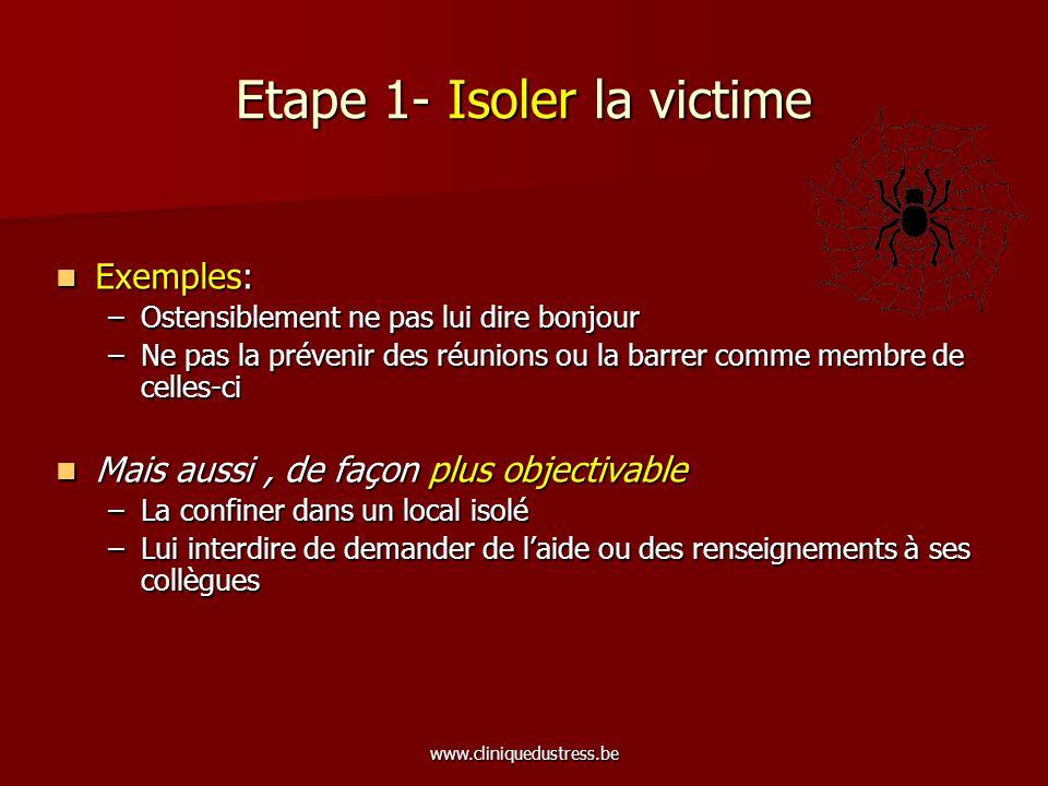 www.cliniquedustress.be Etape 1- Isoler la victime Exemples: Exemples: –Ostensiblement ne pas lui dire bonjour –Ne pas la prévenir des réunions ou la
