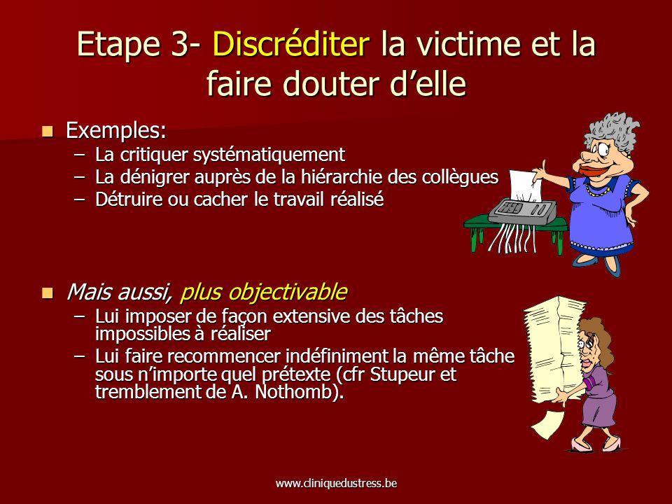 www.cliniquedustress.be Etape 3- Discréditer la victime et la faire douter delle Exemples: Exemples: –La critiquer systématiquement –La dénigrer auprè