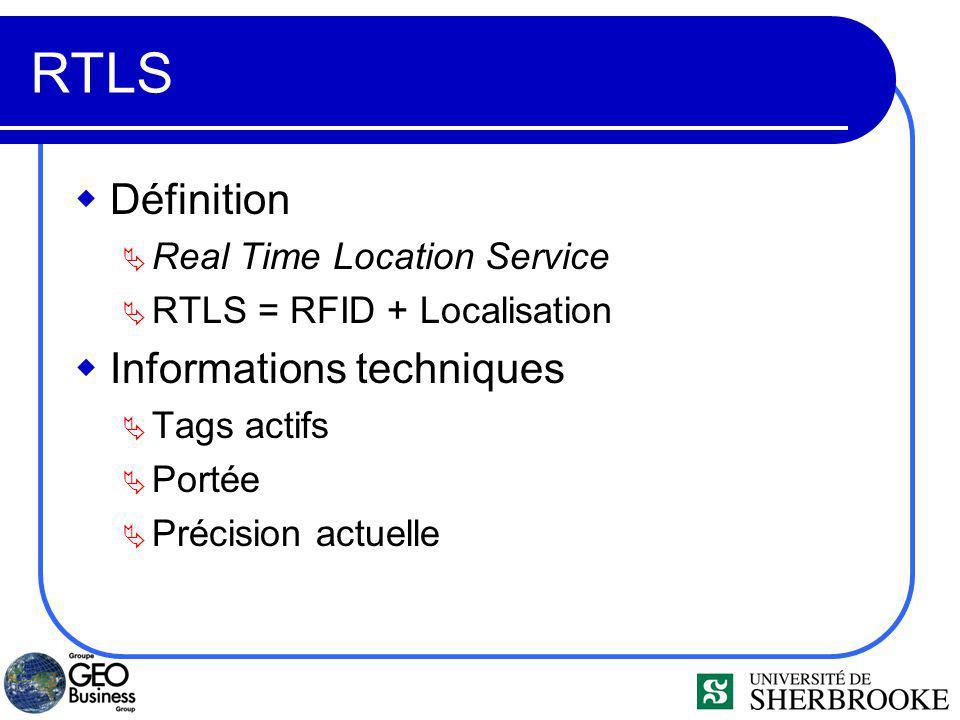 RTLS Définition Real Time Location Service RTLS = RFID + Localisation Informations techniques Tags actifs Portée Précision actuelle
