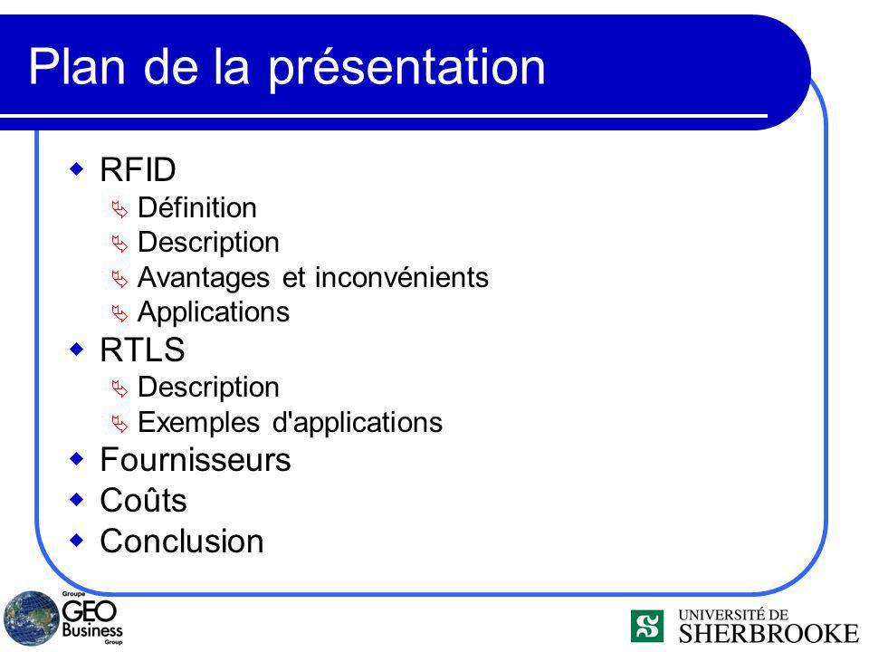 Plan de la présentation RFID Définition Description Avantages et inconvénients Applications RTLS Description Exemples d applications Fournisseurs Coûts Conclusion