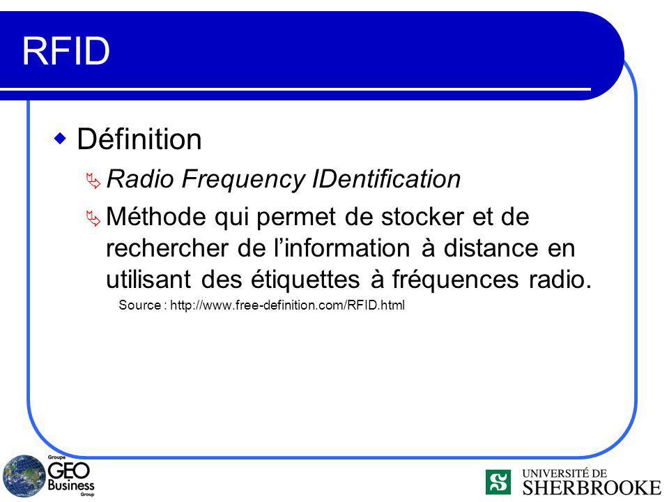 RFID Définition Radio Frequency IDentification Méthode qui permet de stocker et de rechercher de linformation à distance en utilisant des étiquettes à fréquences radio.
