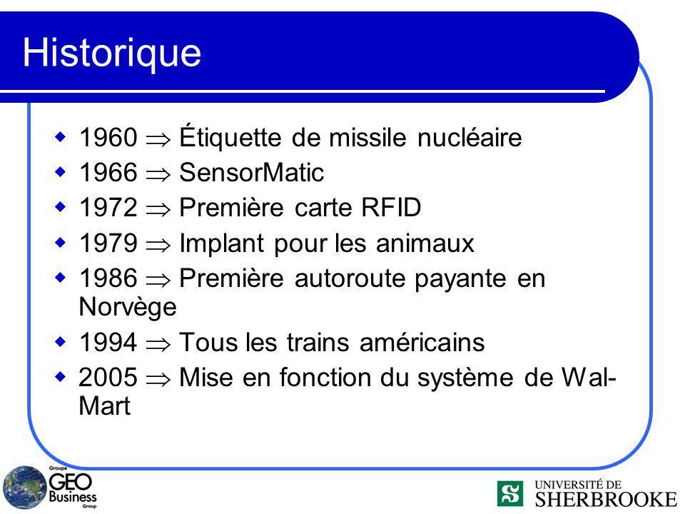 Historique 1960 Étiquette de missile nucléaire 1966 SensorMatic 1972 Première carte RFID 1979 Implant pour les animaux 1986 Première autoroute payante en Norvège 1994 Tous les trains américains 2005 Mise en fonction du système de Wal- Mart