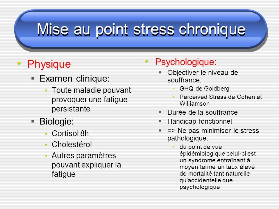 Mise au point stress chronique Physique Examen clinique: Toute maladie pouvant provoquer une fatigue persistante Biologie: Cortisol 8h Cholestérol Aut
