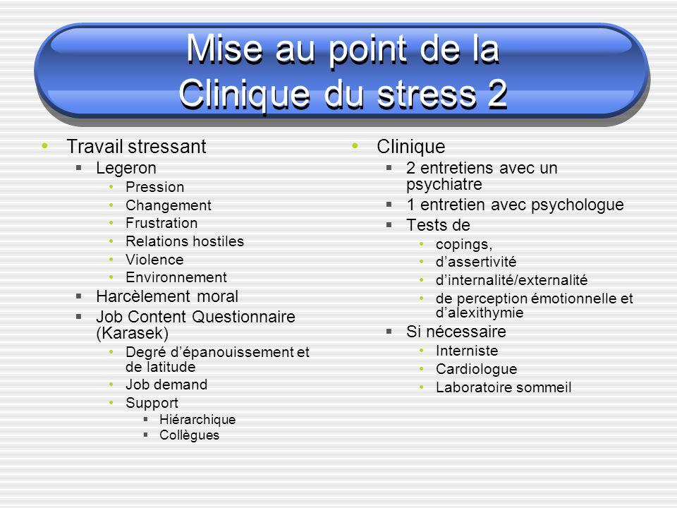 Mise au point de la Clinique du stress 2 Travail stressant Legeron Pression Changement Frustration Relations hostiles Violence Environnement Harcèleme