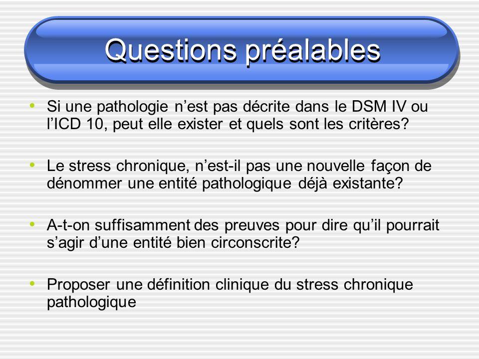 Questions préalables Si une pathologie nest pas décrite dans le DSM IV ou lICD 10, peut elle exister et quels sont les critères? Le stress chronique,