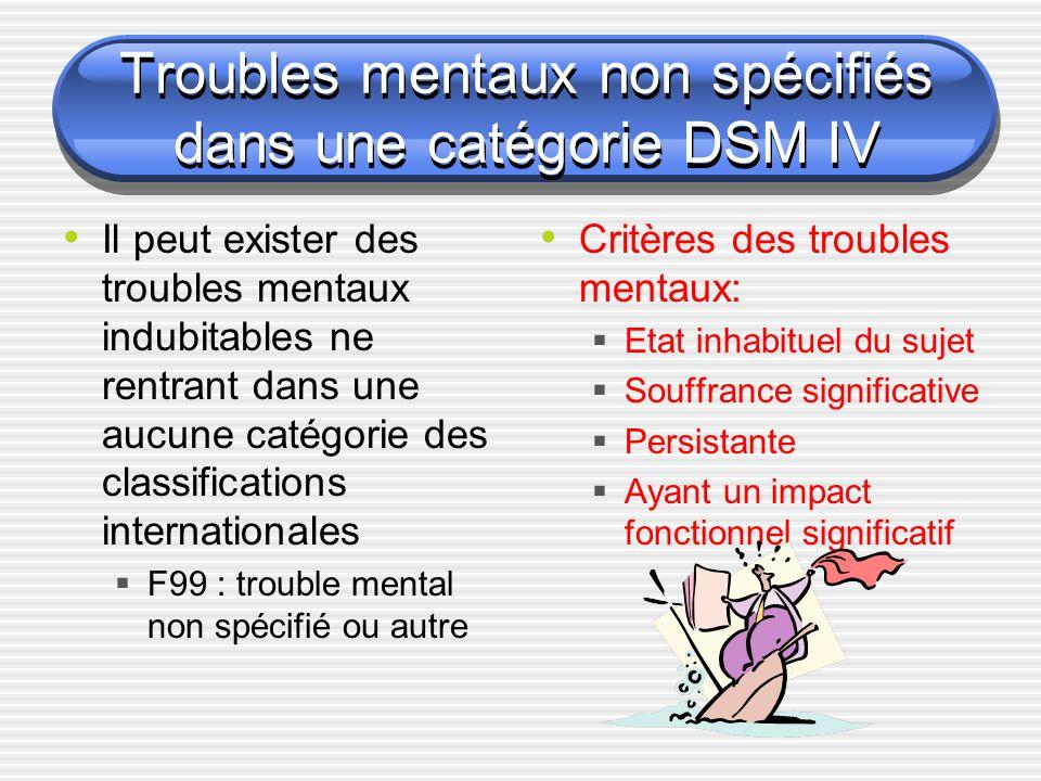 Troubles mentaux non spécifiés dans une catégorie DSM IV Il peut exister des troubles mentaux indubitables ne rentrant dans une aucune catégorie des c