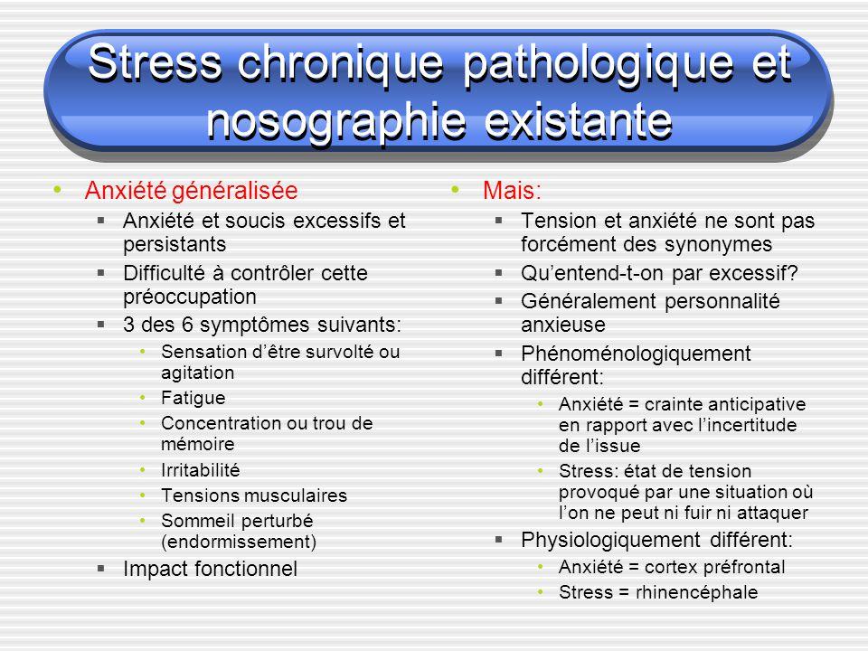 Stress chronique pathologique et nosographie existante Anxiété généralisée Anxiété et soucis excessifs et persistants Difficulté à contrôler cette pré