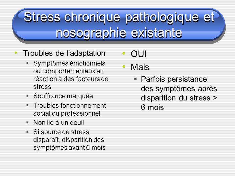 Stress chronique pathologique et nosographie existante Troubles de ladaptation Symptômes émotionnels ou comportementaux en réaction à des facteurs de