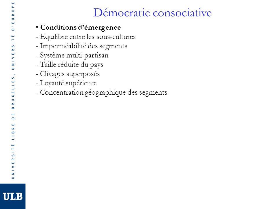 Démocratie consociative Conditions démergence - Equilibre entre les sous-cultures - Imperméabilité des segments - Système multi-partisan - Taille rédu