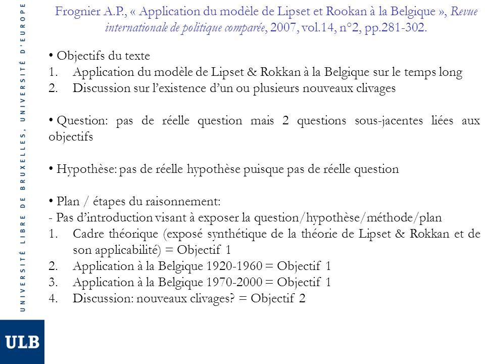 Frognier A.P., « Application du modèle de Lipset et Rookan à la Belgique », Revue internationale de politique comparée, 2007, vol.14, n°2, pp.281-302.