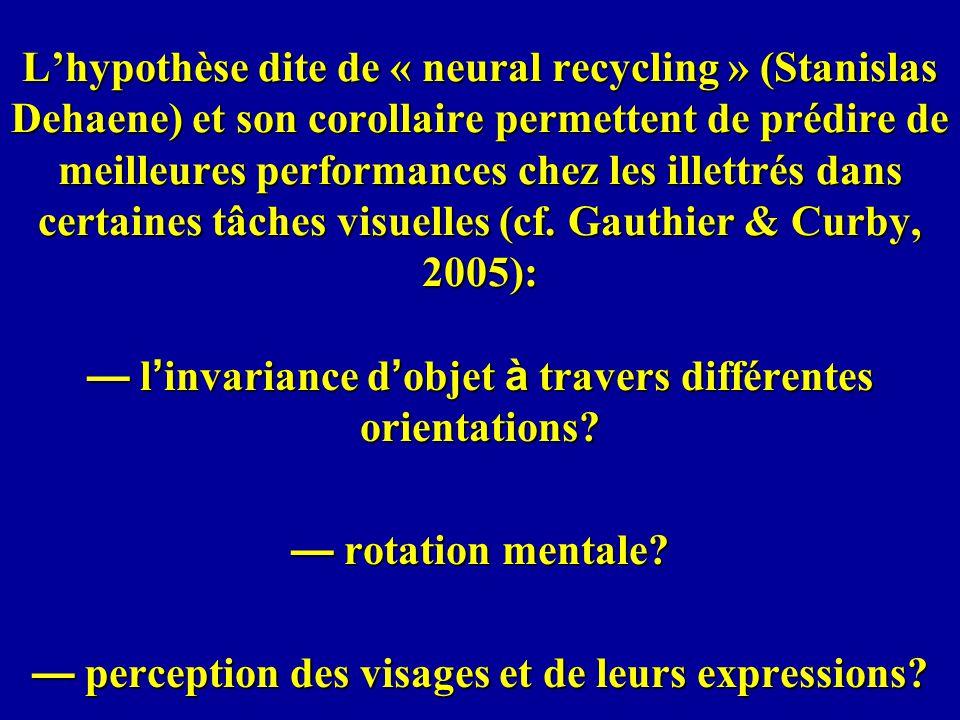 Lhypothèse dite de « neural recycling » (Stanislas Dehaene) et son corollaire permettent de prédire de meilleures performances chez les illettrés dans
