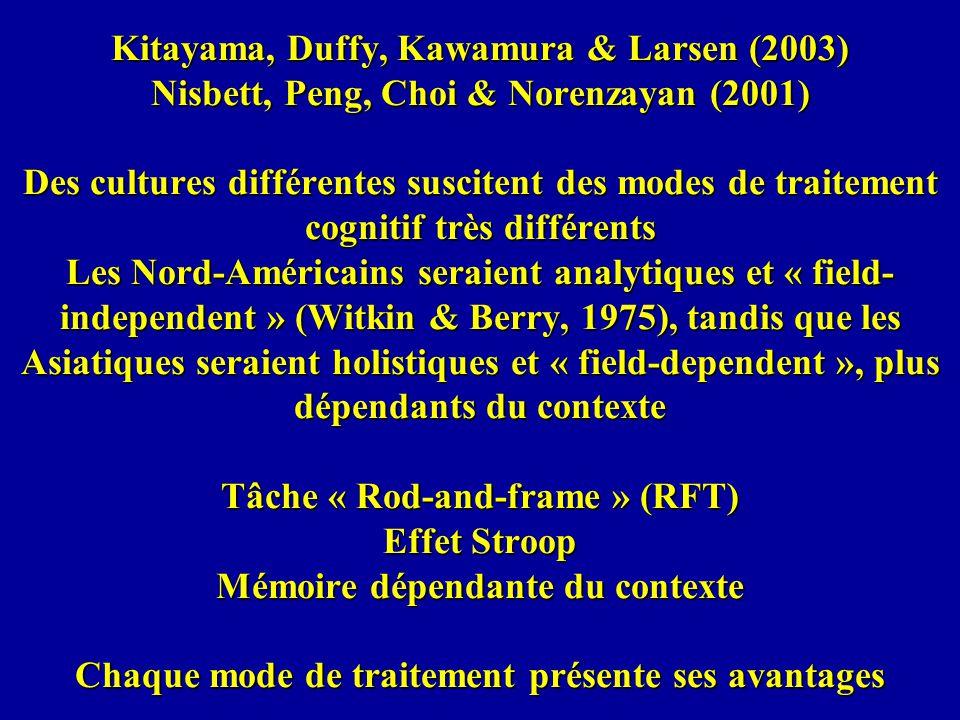 Kitayama, Duffy, Kawamura & Larsen (2003) Nisbett, Peng, Choi & Norenzayan (2001) Des cultures différentes suscitent des modes de traitement cognitif