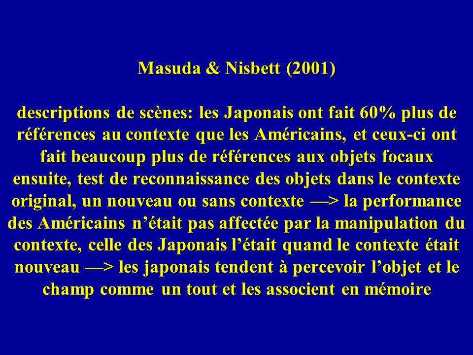 Masuda & Nisbett (2001) descriptions de scènes: les Japonais ont fait 60% plus de références au contexte que les Américains, et ceux-ci ont fait beauc