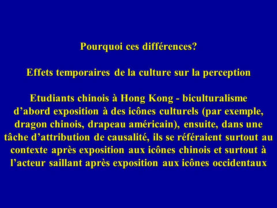 Pourquoi ces différences? Effets temporaires de la culture sur la perception Etudiants chinois à Hong Kong - biculturalisme dabord exposition à des ic